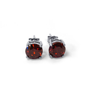 Garnet Sterling Silver Stud Earrings