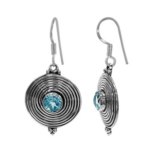 925 Sterling Silver Natural Blue Topaz Bezel Set Round Dangle Earrings