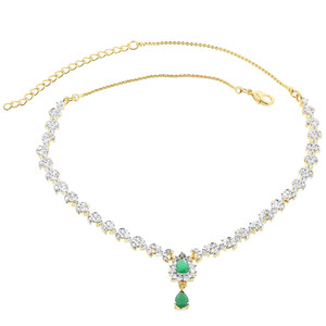 Gold Plated Simulated Teardrop Emerald and Clear Stone Necklace Earrings Set