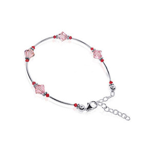 Swarovski Elements Pink Crystal Sterling Silver Bracelet