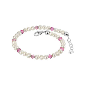 Sterling Silver Freshwater Pearl with Crystal Bracelet