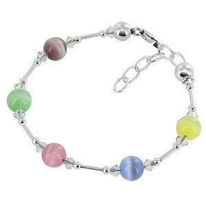 Multicolor Cats Eye Sterling Silver Bracelet