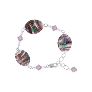 Sterling Silver Glass Beads with Crystal Bracelet
