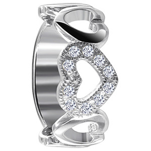 925 Sterling Silver Polished Finish Round Cubic Zirconia Open Heart Ring