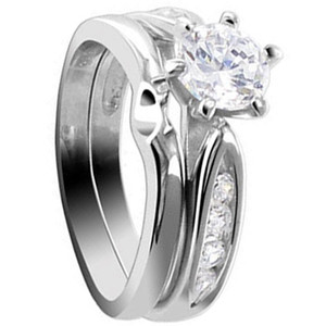 925 Sterling Silver 6mm Round CZ With 1mm Accents Engagement Ring Wedding Band Set