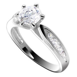 925 Silver CZ With Accents Engagement Wedding Ring Set