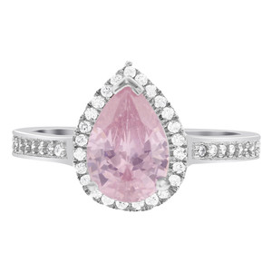 Pear Pink Cubic Zirconia Sterling Silver Ring