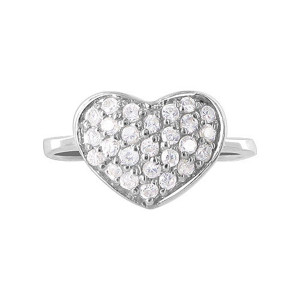925 Silver 2mm Round CZ Pave Setting with Heart Ring