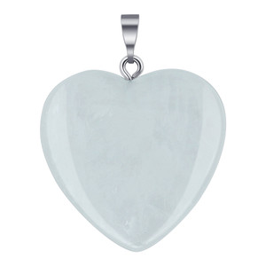 Natural Clear Quartz Crystal Heart Pendant
