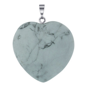 Natural Howlite Crystal Heart Pendant