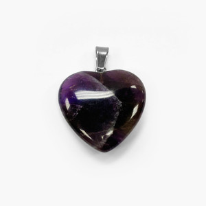 Natural Amethyst Crystal Heart Pendant