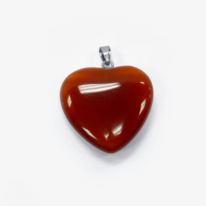 Natural Carnelian Crystal Heart Pendant