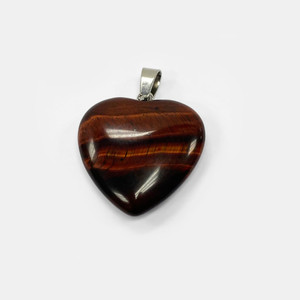 Natural Red Tiger Eye Crystal Heart Pendant