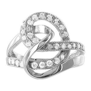 925 Silver Round CZ Prong Set with Swirly Pattern Ring