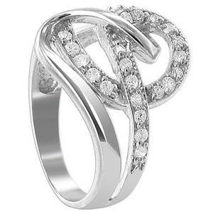 925 Sterling Silver Round Cubic Zirconia Prong Set with Swirly Pattern Ring