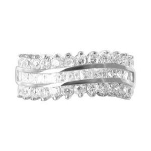 925 Silver 2mm Round CZ with Prong Set Channel Ring