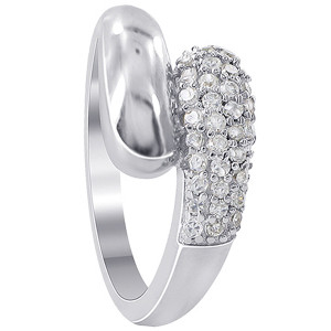 925 Sterling Silver 8mm Round Cubic Zirconia 3mm Ring