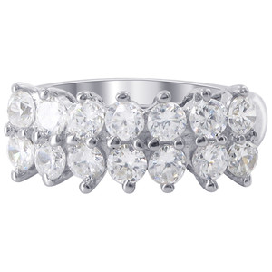 925 Sterling Silver 8mm Round Cubic Zirconia 2mm Ring