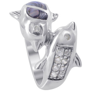 925 Sterling Silver Twin Dolphin Dyed Abalone with Clear Cubic Zirconia 3mm Ring