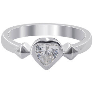 925 Sterling Silver 7mm Heart Cubic Zirconia 3mm Ring