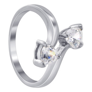 Twin Heart Cubic Zirconia Ring