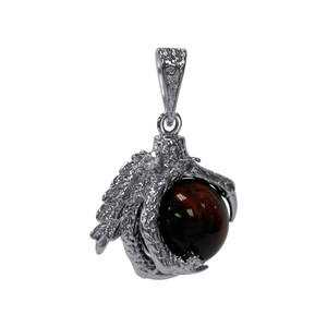 Red Tiger Eye Dragon Claw Silver Plated Pendant