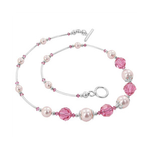 Pink Simulated Pearl With Swarovski Elements Necklace