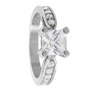 Sterling Silver 6mm Princess Cut CZ Wedding Ring Set