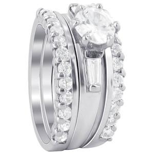 925 Silver 6mm Round CZ Engagement Wedding Ring Set