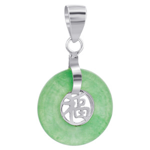 Green Agate Gemstone with Chinese Good Luck Pendant