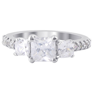 Princess Cut CZ 925 Silver 4mm Wedding Ring Set