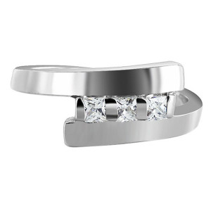 925 Sterling Silver Square Cut Cubic Zirconia Ring