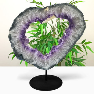 Natural Amethyst Heart Shape Crystal Gemstone on Stand 17.6 Lb