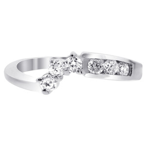 925 Silver Polished CZ Floral Engagement Wedding Ring Set