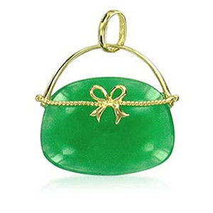 14k Gold and Green Gemstone Hand Bag Pendant