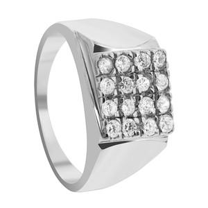Men's Rhodium Plated 925 Silver Clear Cubic Zirconia Ring
