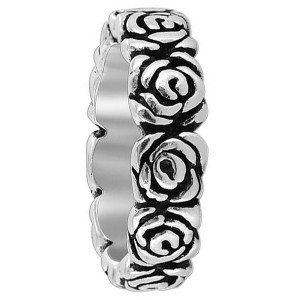 925 Sterling Silver Rose Flowers 6mm wide Band
