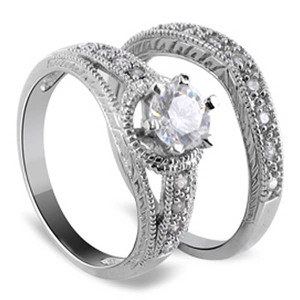 925 Silver Cubic Zirconia Engagement Wedding Ring Set