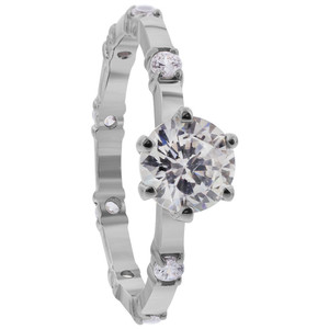 Rhodium Plated 925 Silver CZ Engagement Wedding Ring Set