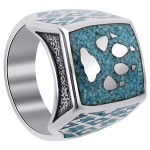 Mens 925 Sterling Silver Turquoise Gemstone Wolf Paw Southwestern Style Ring