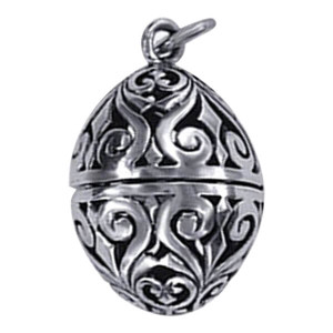Sterling Silver Floral Design Charm Pendant