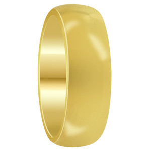 Mens Stainless Steel Gold Plated Comfort Fit 7mm Wedding Band