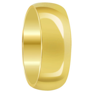 Mens Stainless Steel Gold Plated Comfort Fit 8mm Wedding Band