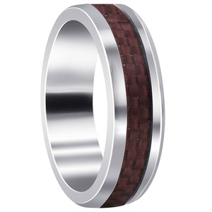 Mens Stainless Steel Pink Carbon Fiber 6mm Band
