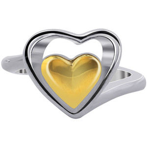 Stainless steel Gold IP Plated Heart Ring #DSSSR007