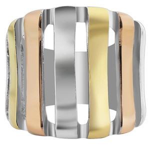 Stainless steel Convaved Bridge 3 Tone IP Frontal Ring