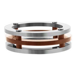 Stainless Steel 3 Piece Flat Rose Gold IP Plated Band