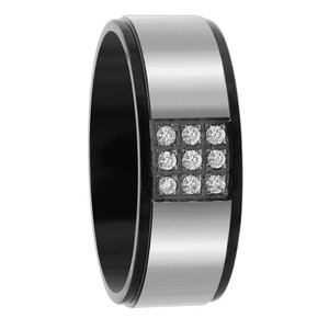 Stainless Steel Black IP Plated Round Cubic Zirconia Pave Set 8mm Band