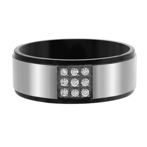 Stainless Steel Black IP Plated Round CZ Pave Set Band