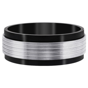 Stainless Steel Black IP Plated with Grey Stripes Band